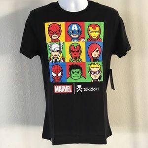NWT Marvel Line Up Medium Black Tshirt by Tokidoki